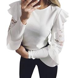 TOPUNDER 2018 Ruffle Long Sleeve T Shirt for Women Lace Crew