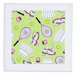 3dRose qs_172136_4 Cute Tennis Pattern Green-Quilt Square, 1