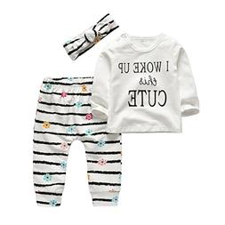 3Pcs Baby Girl Outfits Set I Woke Up This Cute Long Sleeve T