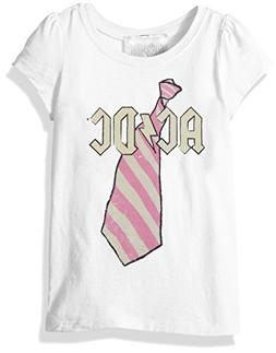 AC/DC Girls' Toddler ACDC Striped Tie Short Sleeve T-Shirt,