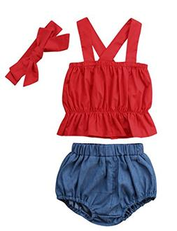 Baby Girls Cross Back Ruffle Top and Denim Bubble Shorts Out