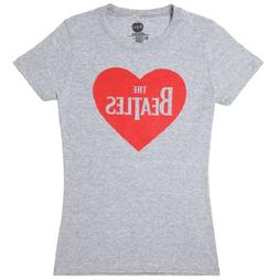 Beatles 'Red Heart' Girls Grey T-Shirt