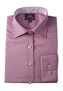 Boy's 100% Cotton Slim Fit Pink Dress Shirt with White Accen