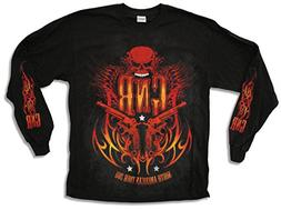 "Bravado Adult Guns N Roses ""Flames Tour 2011"" Black Long Sle"