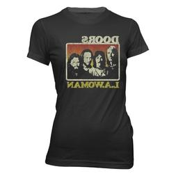 Bravado Juniors Doors LA Woman T-Shirt, Black, Small