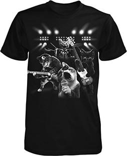 Cat Rock Band, Cats Playing Guitar and Drums Men's T-shirt,