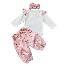 Coper Fashion Outfits, 3PCS Toddler Baby Girls Solid Romper+