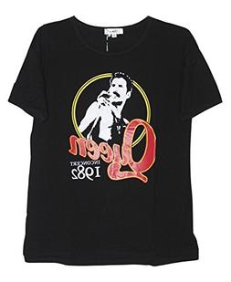 Darceil Women's Black Short Sleeve Queen Print T Shirt