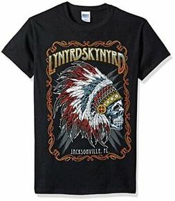 FEA Men's Lynyrd Skynyrd Indian Skeleton Mens Shirt, Black,
