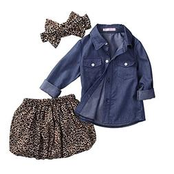 GRNSHTS Baby Girls 3Pcs Skirt Set Blue Jean Shirt + Leopard