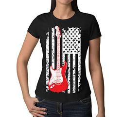 HAASE UNLIMITED Junior's Oversized Guitar American Flag T-Sh
