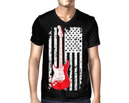 HAASE UNLIMITED Men's Oversized Guitar American Flag V-Neck