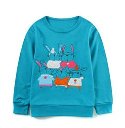 HHmei Long Sleeve Cartoon Striped Soft Tops for Baby Girls T