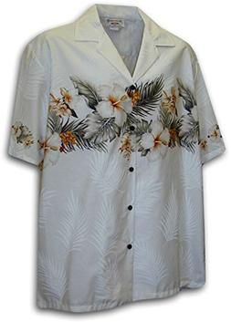 Hawaiian Shirt for Men - White w/ Floral Stripe, 3X-Large
