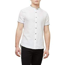 Kenneth Cole New York Short-Sleeve Collarband Spillout Shirt