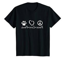 Kids Peace Love Paws Animal Lover T-Shirt 12 Black
