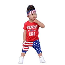 LNGRY Baby Clothes,Toddler Baby Boys Letter T Shirt Tops+Sta