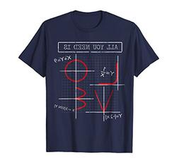 Mens All You Need Is Love - Math Equation T Shirt 3XL Navy