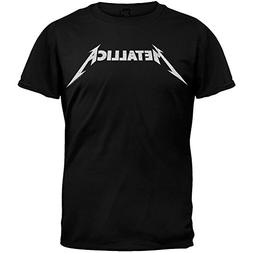 Metallica Black and White Logo Adult T-shirt - Black