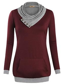 Miusey Women Clothing, V Neck Long Sleeve Flared Shirt Loose