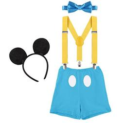 OBEEII First Birthday Party Cake Smash Baby Boy Suspender Bl