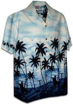 Pacific Legend Mens Sunset Surfers Bottom Band Shirt in Blue