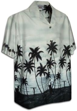 Pacific Legend Mens Sunset Surfers Bottom Band Shirt in Gray