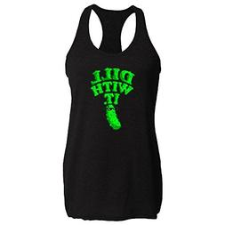 Pop Threads Dill with It Pickle Funny Black 2XL Womens Tank