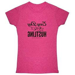 Pop Threads Every Day Im Hustling Heather Fuchsia 2XL Womens