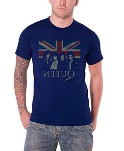Queen Union Jack classic band logo new Official Mens Blue T