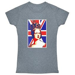 Queen Victoria Union Jack Pop Art Heather Charcoal M Womens