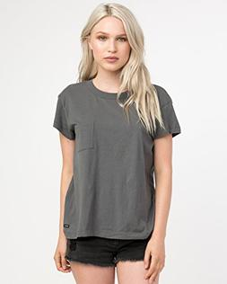 RVCA Junior's Label Pocket T-Shirt, Grey Skull, L