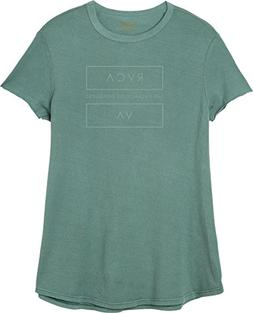 RVCA Junior's at End Loose Fit T-Shirt, Silver/Green, M
