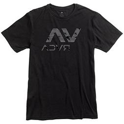 RVCA Men's Dark Camo VA Short Sleeve Perfomance T-Shirt, Bla