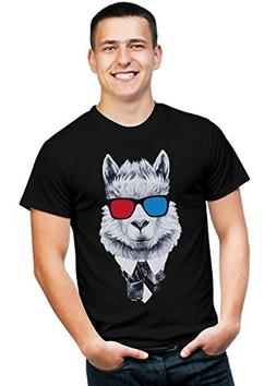 Retreez Funny Hipster Lama in Suit with 3D Glasses Graphic P