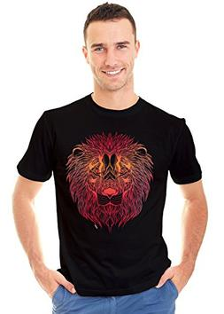 Retreez Powerful Fire Color Tone Lion Head Tattoo Graphic Pr