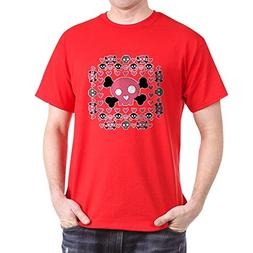 Royal Lion Dark T-Shirt Pink Hearts and Skulls - Red, XL