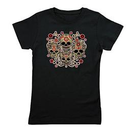 Royal Lion Girl's Tee T-Shirt  Flower Skulls Goth - Black, E
