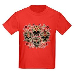 Royal Lion Kids Dark T-Shirt Flower Skulls Goth - Red, Small