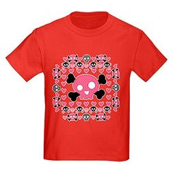 Royal Lion Kids Dark T-Shirt Pink Hearts and Skulls - Red, X