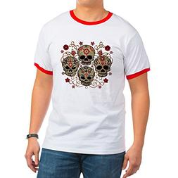 Royal Lion Ringer T-Shirt Flower Skulls Goth - Red/White, XL