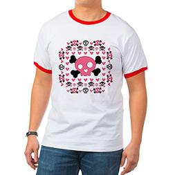 Royal Lion Ringer T-Shirt Pink Hearts and Skulls - Red/White