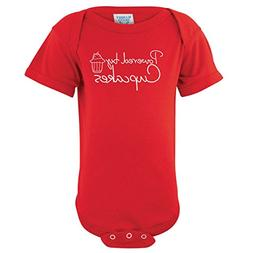 ShirtLoco Baby Powered By Cupcakes Creeper Bodysuit, Red 24