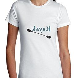 Simple Kayak With Kayaker Paddle Graphic Women's Cotton T-Sh
