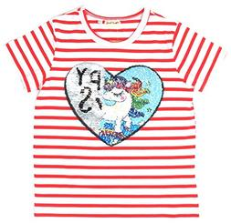 Unicorn Flip Heart Sequin Girl's T-Shirt with Flip Sequin