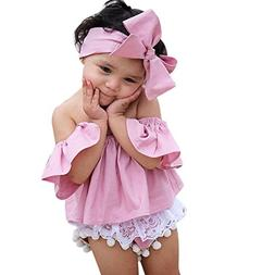 Vibola Toddler Kids Baby Girl Off Shoulder Ruffle T-Shirt To