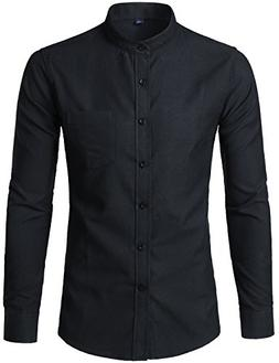 WHATLEES Mens Hipster Mandarin Collar Slim Fit Long Sleeve C