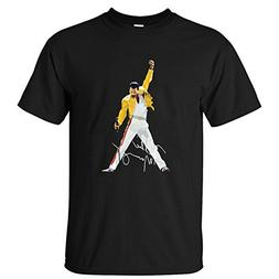 WPAD Men's Queen Band Freddie Mercury Autograph Sign T-shirt