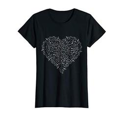 Womens Heart Shaped Music Notes T-shirt Singers Band Instrum