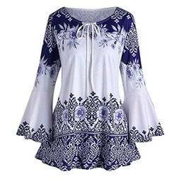 Womens Tops Promotion,KIKOY Ladys Plus Size Printed Flar